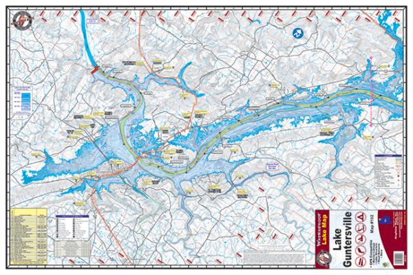 Guntersville Lake Alabama Waterproof Lake Map Front #102