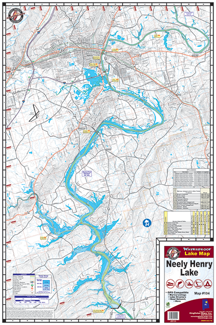 Neely Henry Lake Waterproof Lake Map 104