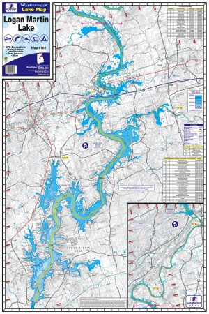 Logan Martin Lake Waterproof Lake Map 108