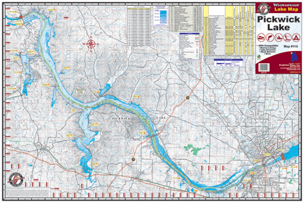 Pickwick Lake Waterproof Lake Map 110