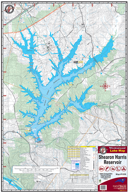 Shearon Harris Reservoir Waterproof Lake Map 1208