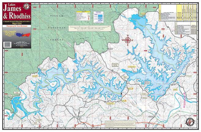 James rhodhiss lakes 1214 kingfisher maps inc for Lake james nc fishing