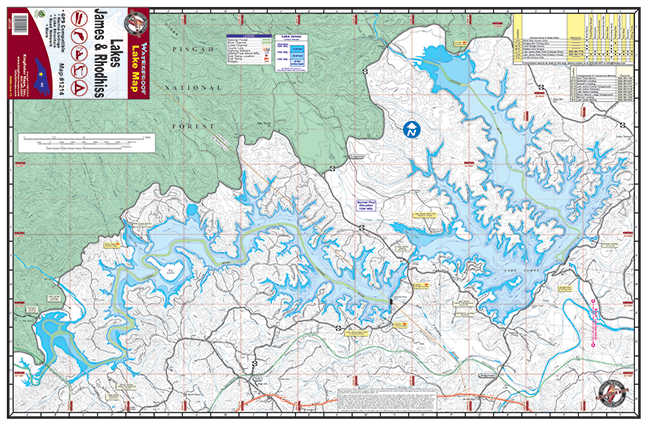 James & Rhodhiss Lakes #1214 – Kingfisher Maps, Inc. on