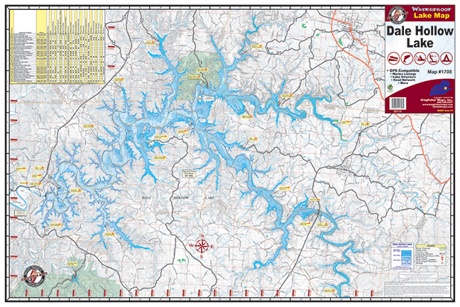 Map Of Dale Hollow Lake Dale Hollow Lake #1708 – Kingfisher Maps, Inc.