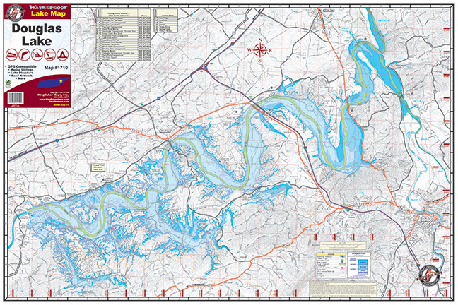 Douglas Lake Kingfisher Maps Inc - Tn lakes map