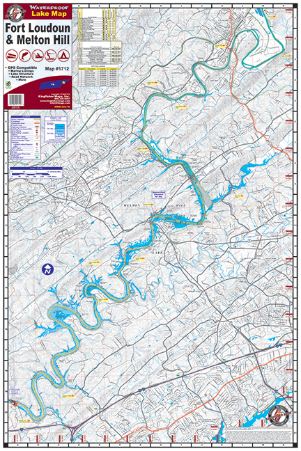 Fort Loudoun Melton Hill Waterproof Lake Map 1712