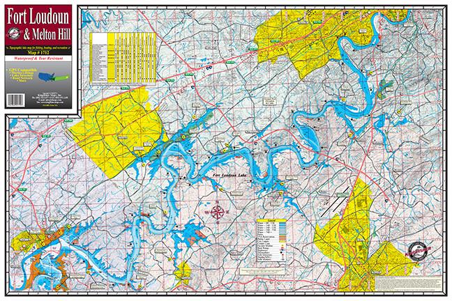 fort loudoun lake map Fort Loudoun Melton Hill 1712 18 Pack Kingfisher Maps Inc fort loudoun lake map
