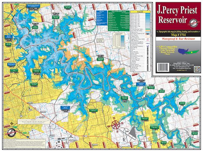 J Percy Priest Lake 1714 Kingfisher Maps Inc