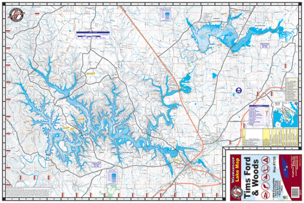Tims Ford Woods 1720 Waterproof Lake Map