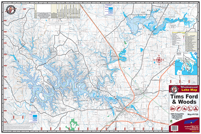 Tims Ford Lake Map Tims Ford & Woods #1720 – 18 PACK – Kingfisher Maps, Inc.