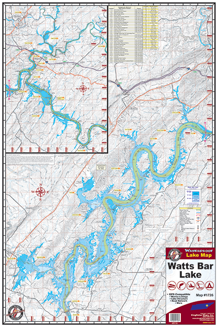 Watts Bar Lake 1726 Kingfisher Maps Inc