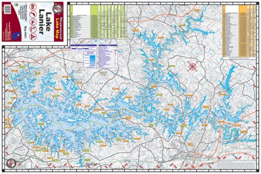 Lake Lanier Waterproof Lake Map 301