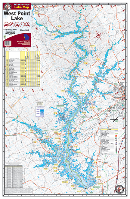West Point Lake Map West Point Lake #303 – Kingfisher Maps, Inc.