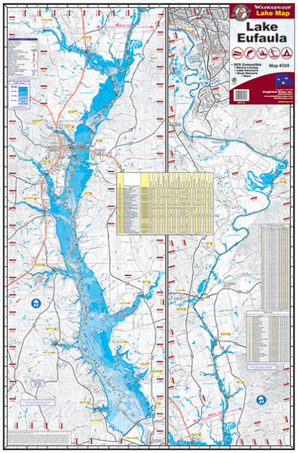 Lake Eufaula Waterproof Lake Map 308