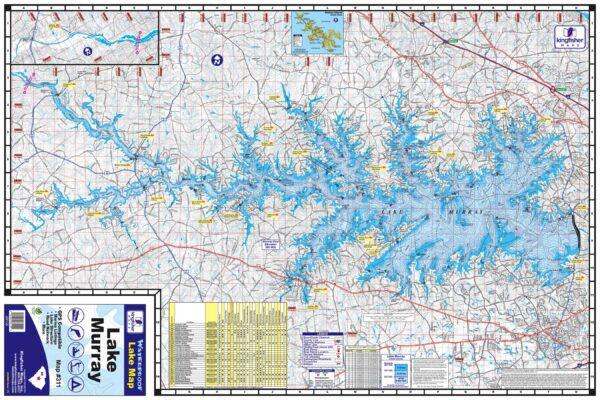 Kingfisher Maps, Inc. Lake Murray Waterproof Lake Map #311