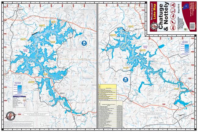 Chatuge nottely lakes 318 kingfisher maps inc for Lake nottely fishing