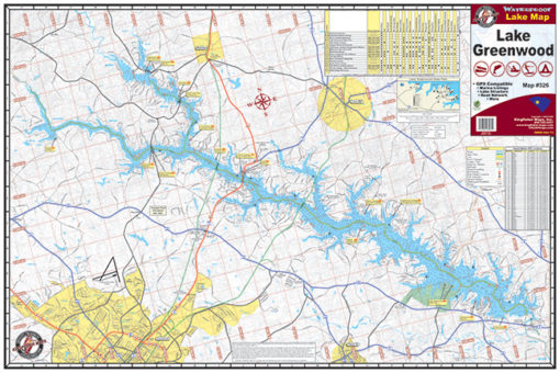 Lake Greenwood Waterproof Lake Map 326