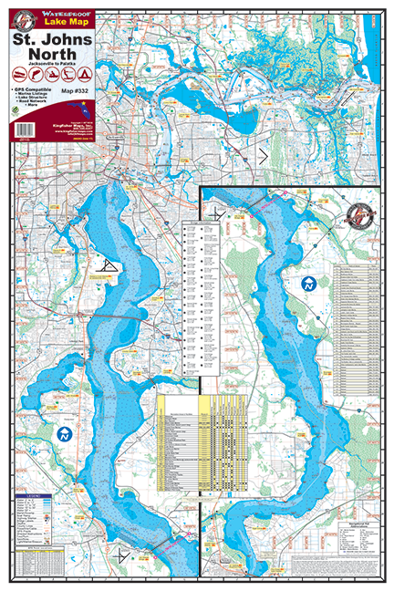 St Johns River North Waterproof Lake Map 332