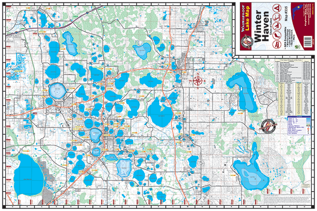 Winter Haven Chain Of Lakes 335 Kingfisher Maps Inc