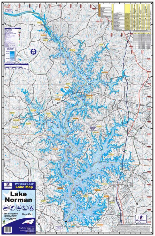 Lake Norman Waterproof Lake Map 341