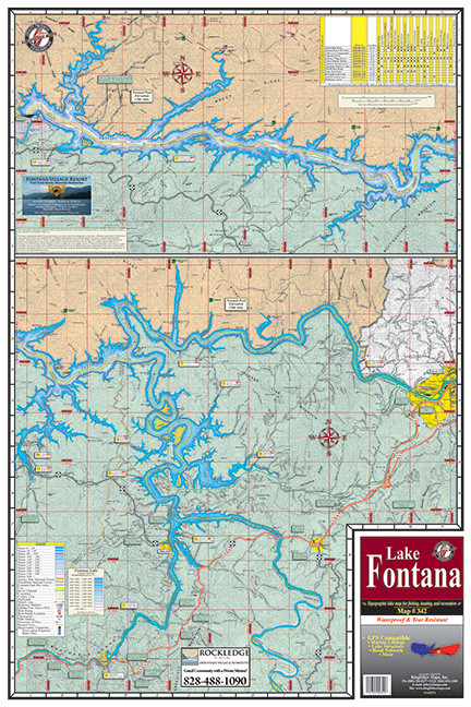 map of fontana lake nc Fontana 342 18 Pack Kingfisher Maps Inc map of fontana lake nc