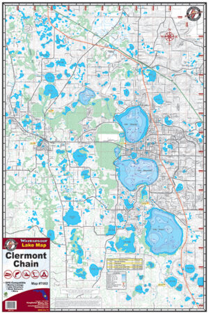 Clermont Chain of Lakes Waterproof Lake Map 7002
