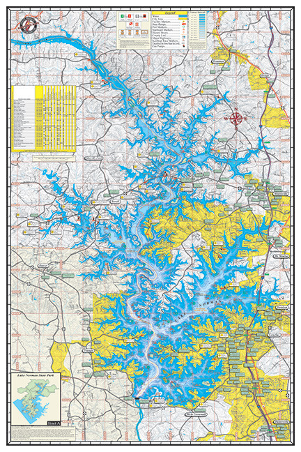Lake Norman Poster P341 Kingfisher Maps Inc