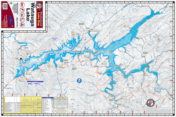 Lake Watauga Waterproof Lake Map #1724