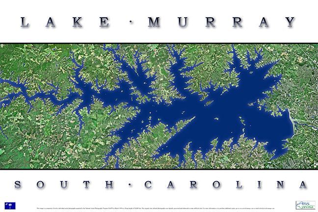 lake murray topographic map Aerial Lake Murray Poster Av105 Kingfisher Maps Inc lake murray topographic map