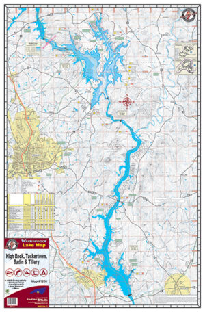 Badin Tillery High Rock Tuckertown Waterproof Lake Map Front 1200