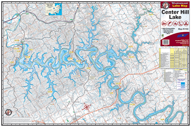 Center Hill Lake Tennessee Map.Center Hill Lake 1700 Kingfisher Maps Inc