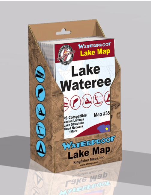 Lake Wateree Waterproof Lake Maps Display Box