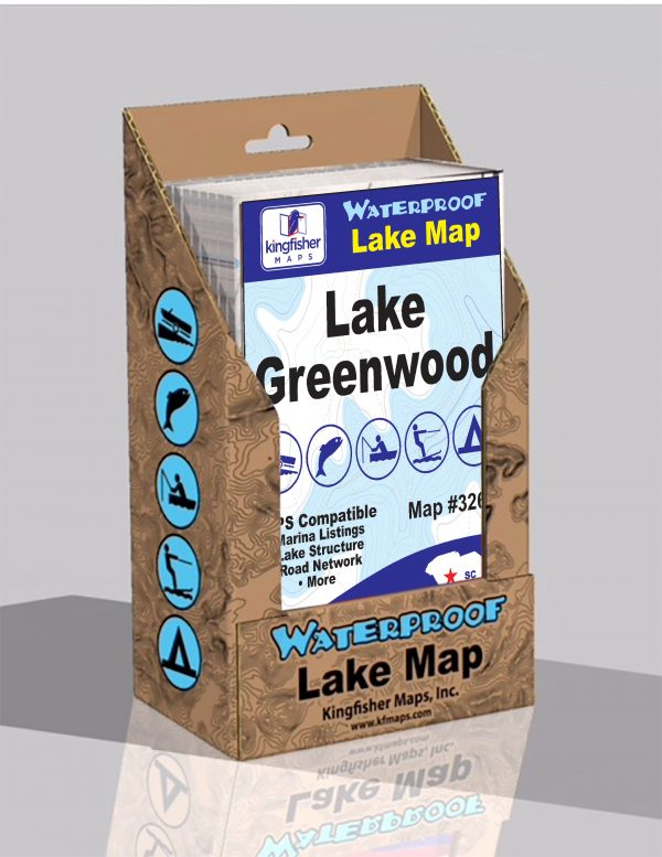Lake Greenwood Waterproof Lake Map Display Box