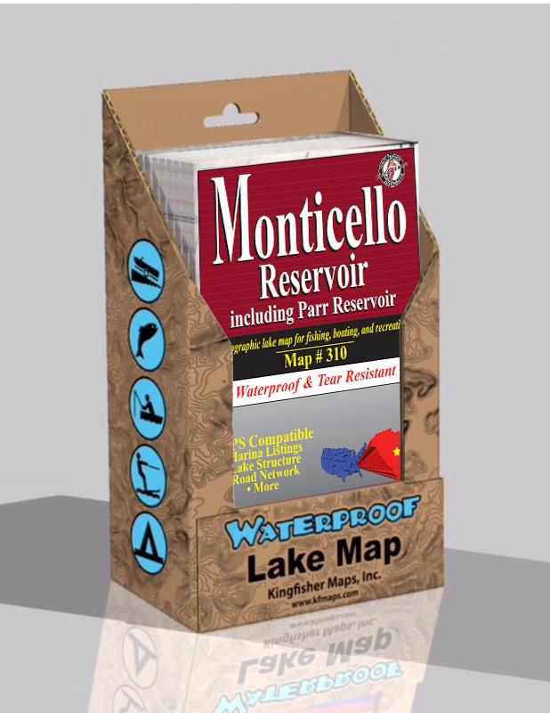 Monticello Reservoir Waterproof Lake Map Display Box