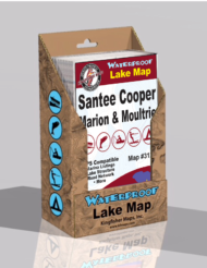 Santee Cooper Lake Marion Lake Moultrie Waterproof Lake Map Display Box