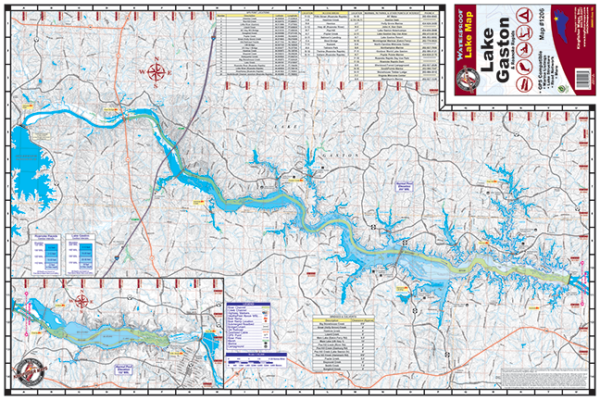 Lake Gaston Waterproof Lake Map 1206