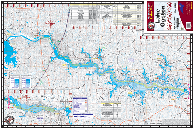 map of lake gaston Lake Gaston Roanoke Rapids 1206 Kingfisher Maps Inc map of lake gaston