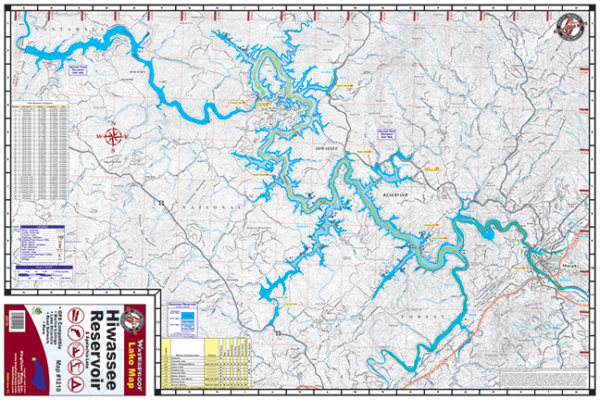 Hiwassee Reservoir Waterproof Lake Map 1210