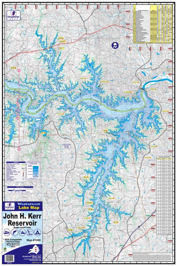 JH Kerr Reservoir Waterproof Lake Map 1900