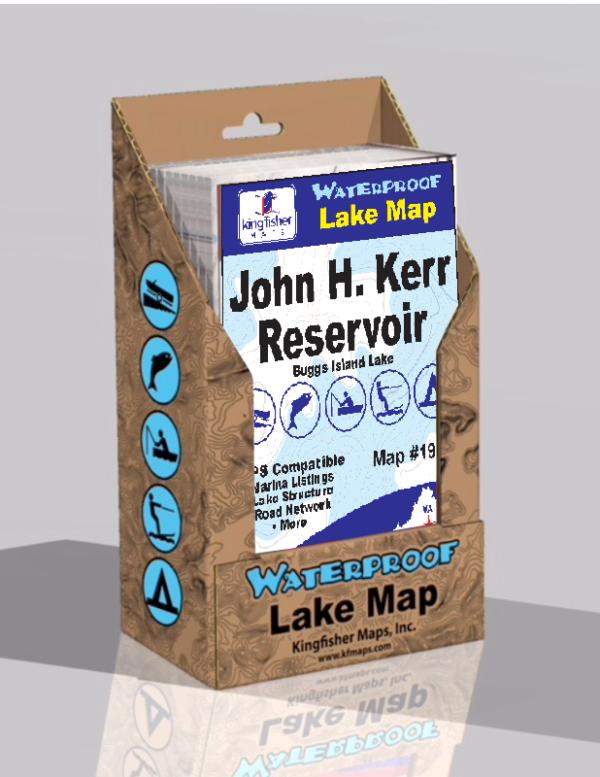 J H Kerr Reservoir Buggs Island Waterproof Lake Map 1900