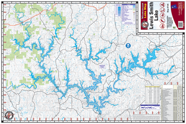 Lewis Smith Lake Waterproof Lake Map 106