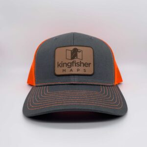 Kingfisher Maps Hat Charcoal Neon Orange